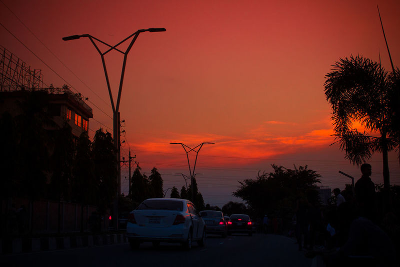 Silhouette of car on road