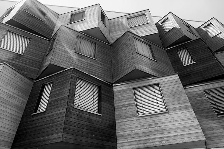 building in Berlin Marzahn Built Structure Architecture Building Exterior Building Low Angle View No People Window Day Pattern Sky Outdoors Glass - Material City Roof Full Frame In A Row Modern House Shape Housing Development Black And White