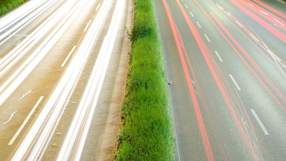 High Angle View Road Speed Street Motion Transportation Outdoors Nature No People Night Grass City Feinstaub