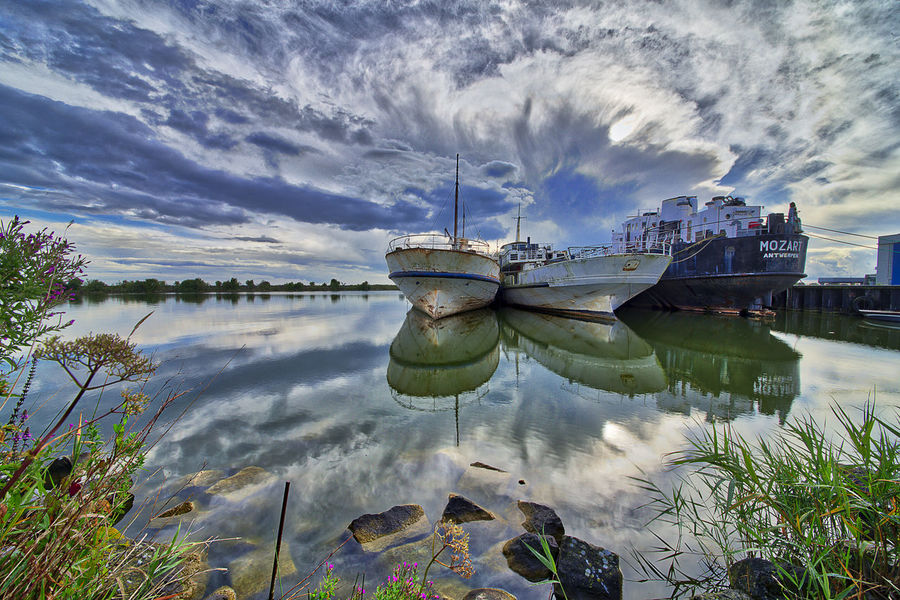 Abandonned ships early in the morning. HDR Architecture Beauty In Nature Building Exterior Cloud - Sky Day Harbor Moored Nature Nautical Vessel No People Outdoors Reflection Sea Sky Transportation Urban Urbex Water