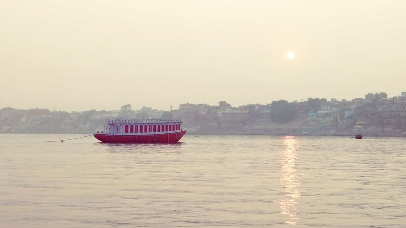 Nautical Vessel Red Reflection Outdoors Water No People Night Nature Sky Ghats  Benaras Colors Boat Red Color Ghats Of Varanasi Single Boat Around The Lake