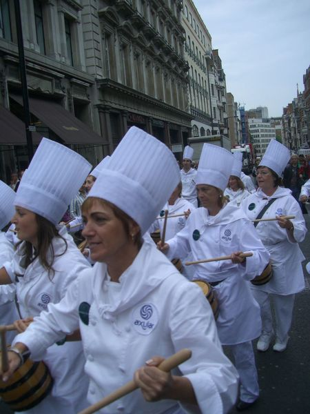 Chefs on Parade, Spanish Festival, Regent Street Blue Sky Chefs Composition Famous Place Festival Full Frame GB Group Of People Headwear London Marching Band Musicians No Incidental People Occupation Outdoor Photography Regent Street  Smiling Spanish Festival Tourist Attraction  Tourist Destination Uk Uniform Working