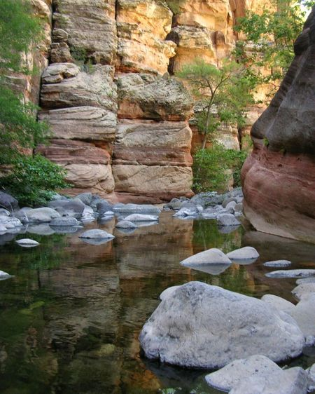 Wet Beaver Creek, Wet Beaver Wilderness, Arizona. Arizona Creek Wilderness Area Beauty In Nature Canyon Cliff Day Landscape Nature No People Outdoors Rock - Object Rock Face Rock Formation Sandstone Scenics Tranquility Water Wilderness Perspectives On Nature