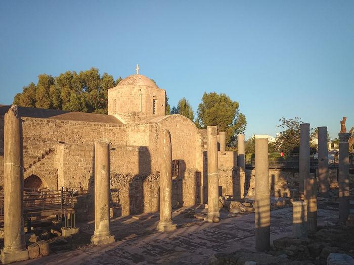 Ayia Kyriaki Chrysopolitissa Church The Past Ruins Architecture Columns Saint Paul Pillar Place Of Worship Golden Hour Religion Spirituality Ancient Architecture Blue Sky