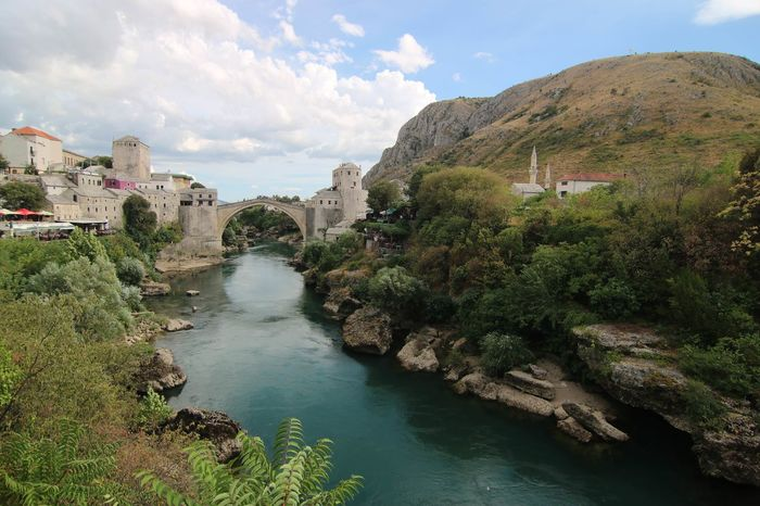 Travel Destinations Architecture Cityscape Nature Cloud - Sky Water Outdoors Bosnia And Herzegovina Mostar Bridge
