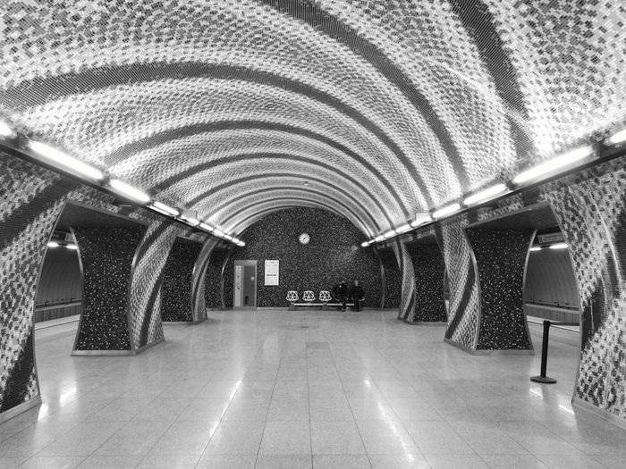 Indoors  Architecture Built Structure The Way Forward Illuminated Black & White Shadow No Filters Or Effects Personal Perspective Railway Station Metro Metro Station EyeEm Best Shots Eye4photography  Perspective