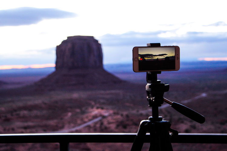 Sky Cloud - Sky Photography Themes Technology Focus On Foreground No People Landscape Day Mountain Nature Environment Camera - Photographic Equipment Outdoors Tripod Land Close-up Connection Photographic Equipment Beauty In Nature Camera Digital Camera Arizona Desert Monument Valley Arizona Sky