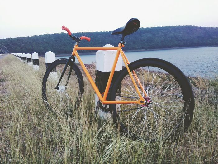 Bicycle Transportation Mode Of Transport Land Vehicle Wheel Stationary Water No People Day Outdoors Nature Grass Mountain Bike Spoke Pedal Sport Tire Tree Beauty In Nature Sky
