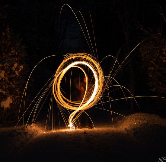 Night Motion Long Exposure Illuminated Wire Wool Blurred Motion Spinning Glowing Nature Burning Circle One Person Speed Fire Light Painting Shape Geometric Shape Creativity Fire - Natural Phenomenon Light Trail Outdoors Sparks