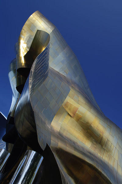 Architecture Building Exterior Gold Metal Seattle, Washington Shiny Travel Twisted USA Weird Shapes