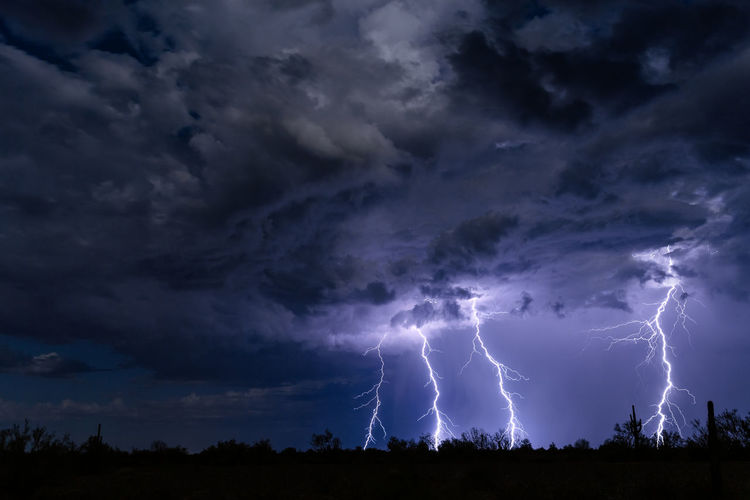 Low angle view of lightning over silhouette landscape at night