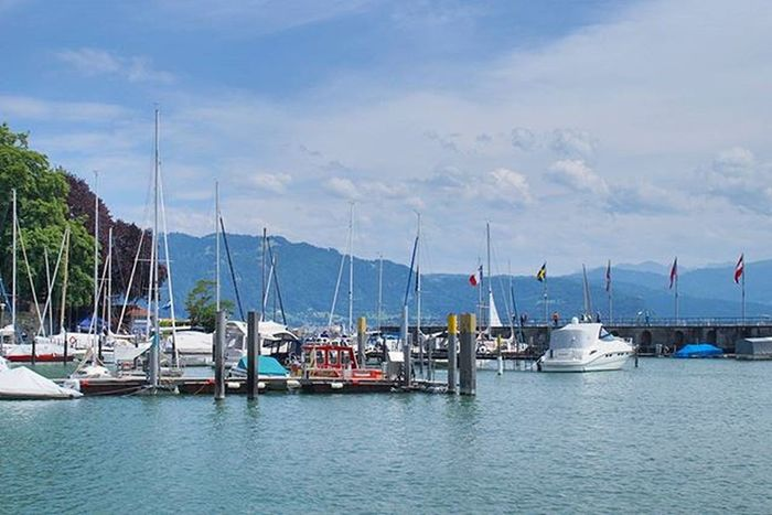 Beautiful View of the Lake . Yachts Docked at the Hafen Port . Lindau Bodensee Deutschland Germany . Taken by my Sonyalpha DSLR Dslt A57 . مرفأ يخوت بحيرة جزيرة لينداو المانيا