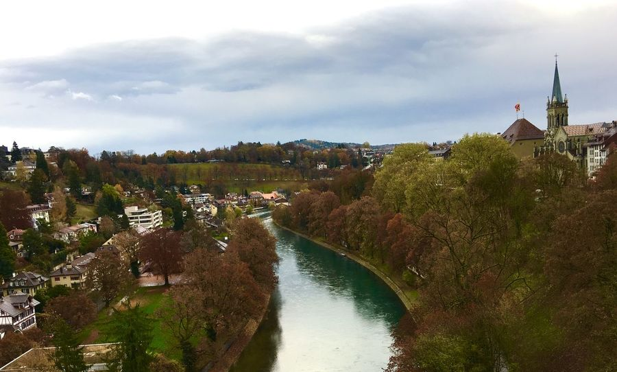 Bern, Switzerland River View Autumn🍁🍁🍁 Autumn Collection Landscape Landscape_photography Traveling Traveling Photography Cloud And Sky Street Photography Beauty In Nature Trees Switzerland❤️ Tree_collection  Water Reflections
