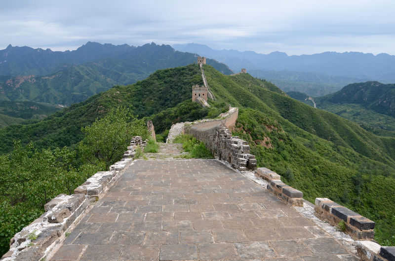 High Angle View Of Great Wall Of China By Mountains Against Cloudy Sky