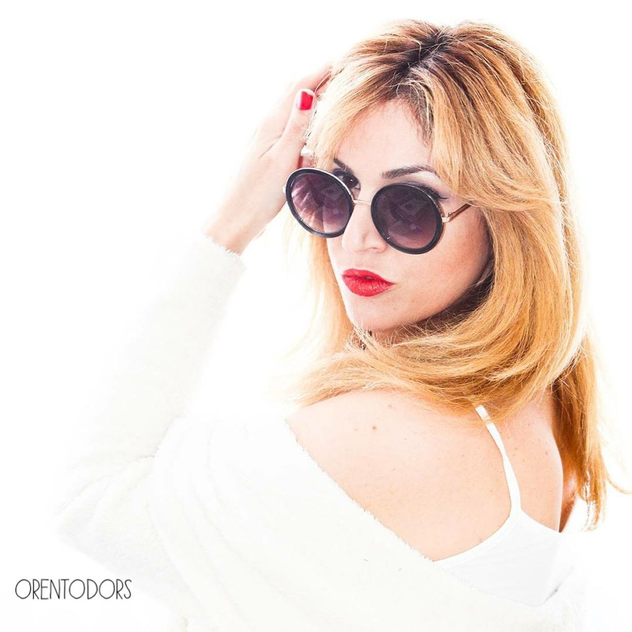 sunglasses, white background, portrait, one person, young adult, looking at camera, blond hair, fashion, young women, headshot, real people, eyeglasses, beautiful woman, fashion model, adult, day, close-up, people, adults only