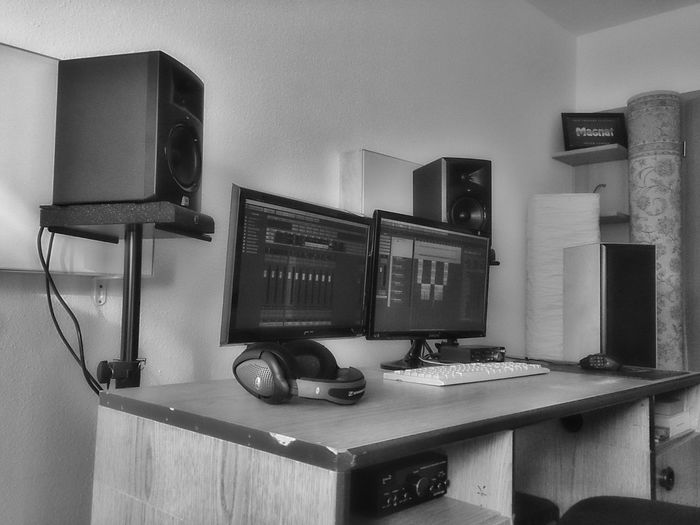 My Place | My Work Home Interior Indoors  No People Technology Music Black And White Mobile Photography Recording Musician Microphone Musical Instruments BrianArlt Music Brings Us Together Love❤ Recording Studio Home Is Where The Art Is