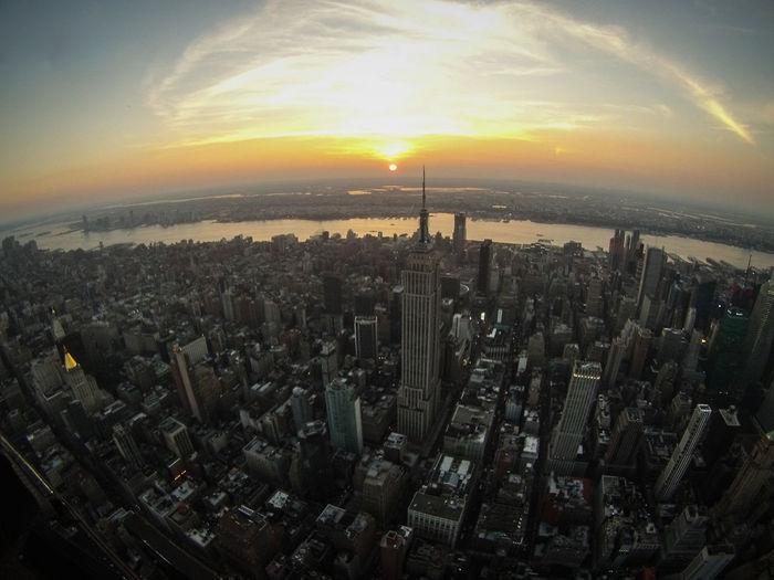 Aerial sunset Manhattan Gopro Newyorksunset Manhattansunset