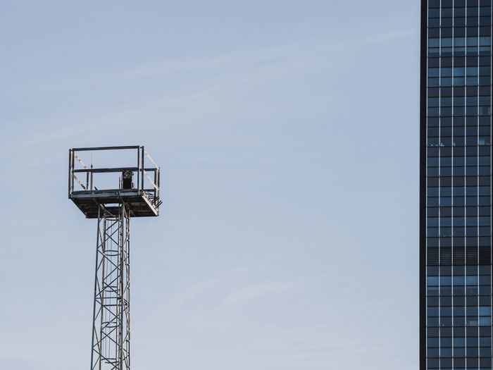 Berlin Modern Architecture Blue Built Structure Clear Sky Copy Space Day Desaturated Ladder Lookout Tower Low Angle View Metal Minimal Minimalism Nature No People Observation Point Office Building Outdoors Sky Skyscraper Sport Tall - High Tower
