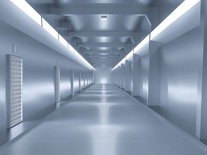 spaceship or science lap, sci-fi corridor blue color , 3D render. Illuminated Indoors  Architecture The Way Forward Lighting Equipment Direction Diminishing Perspective Ceiling No People Built Structure Building Empty Light Electric Light Tunnel Arcade Wall - Building Feature Flooring Corridor Transportation Modern Fluorescent Light Long Light Fixture Underpass