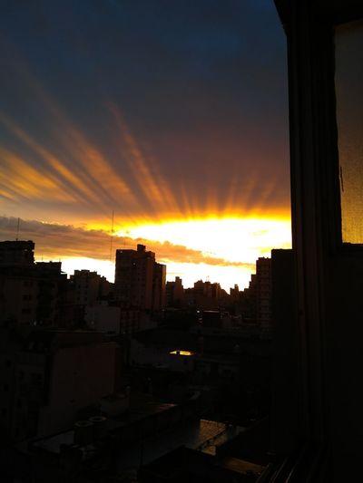 Atardece City Sunset Silhouette Sky Architecture Building Exterior Cloud - Sky