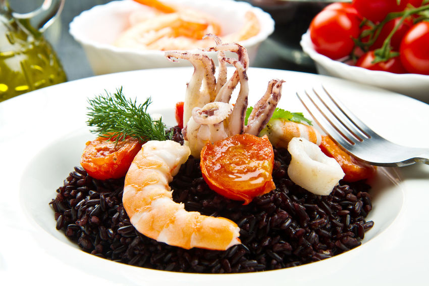 black rice with shrimp and octopus Dish Seafood Black Rice Close-up Day Fish Food Food And Drink Freshness Good Morning Healthy Eating Indoors  Italian No People Plate Ready-to-eat Serving Size Table Venere Rice