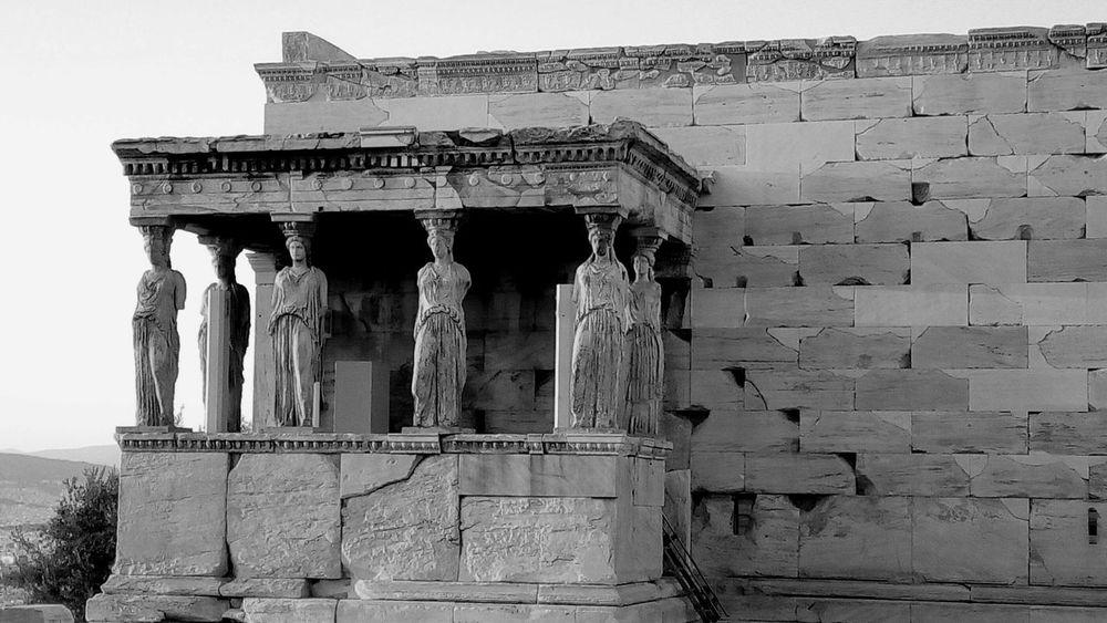 Blackandwhite Black And White Black & White High Contrast Black And White Photography Ancient Ruins Acropolis Parthenon Karyatides Ancient Greek Archaeogical Site Landmark Athens, Greece Athens