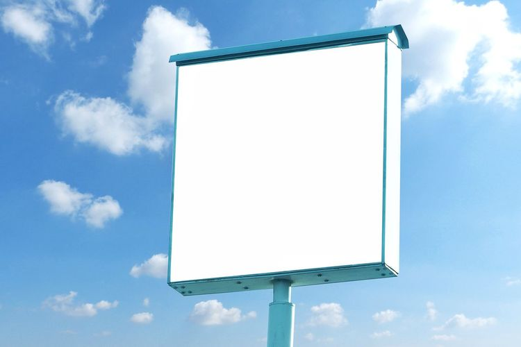Billboard - Square Blank Billboard with empty screen and beautiful cloudy sky for outdoor advertising poster,Copy space banner ready for your advertisement design or mock up Concept. Advertisement Billboard Blank Blue Cloud - Sky Communication Copy Space Day Empty Global Communications Information Low Angle View Marketing Message Nature No People Outdoors Placard Shape Sign Sky White Color