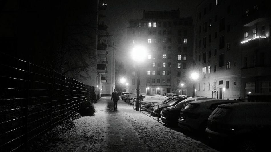 Snowy night in Berlin Night Illuminated Street Light Car Transportation No People Outdoors City Architecture Sky