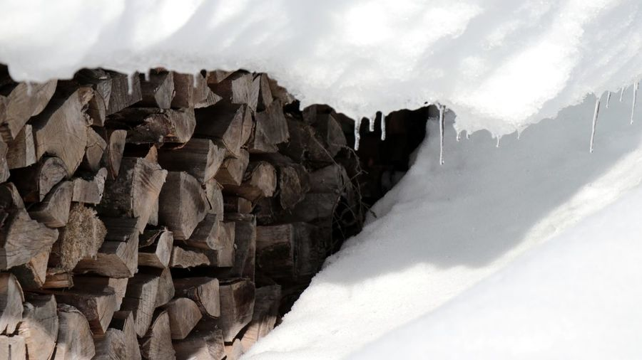 Close-up of logs on snow covered landscape
