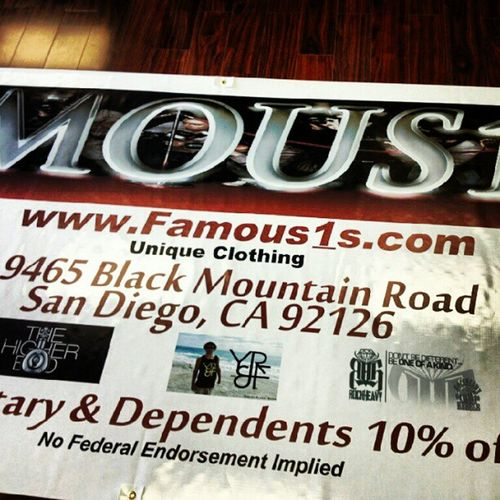 Shout out to Famous1s for putting YR&F™ on their banner.. This banner is on Miramar Military Base. Wesupportourtroops Youngrichandflashy