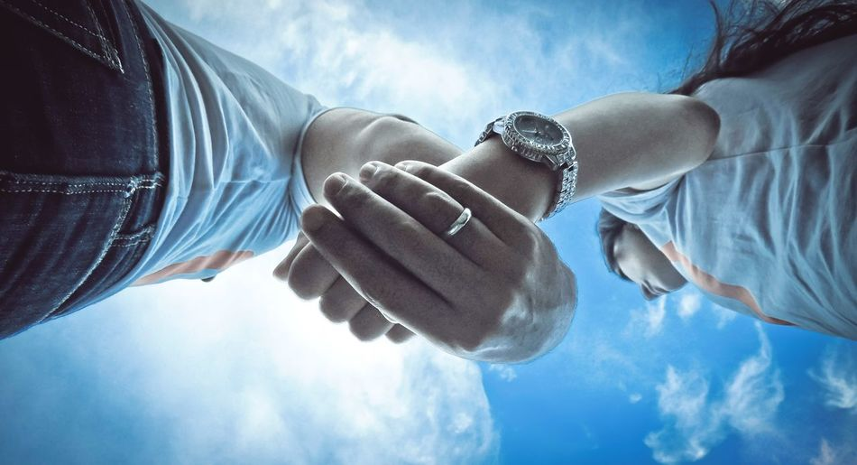 Together .. Blue Romance Engagement Passion Human Hand Cloud - Sky Togetherness Sky Human Body Part Real People Day Love Low Angle View Outdoors Bracelet Close-up Two People