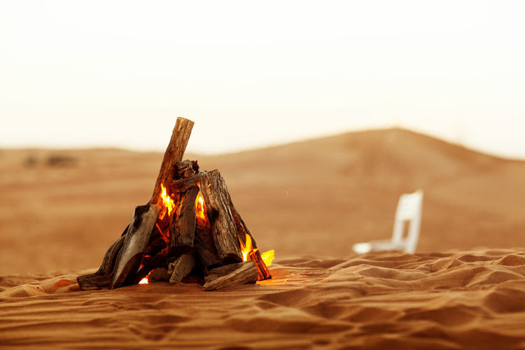 Beautiful bonfire in the desert, rest in the uae, ramadan kareem