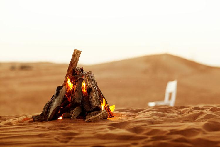 Beautiful bonfire in the desert, rest in the uae, ramadan kareem