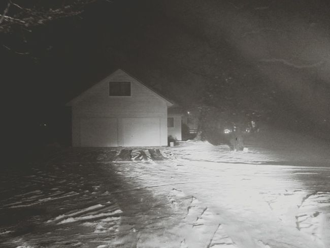 Night Snow ❄ Outdoors Winter Cold Temperature No People Road Driveway Tracks In The Snow Garage Door