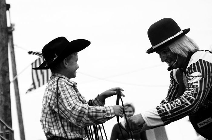 Blackandwhite Clown Lifestyles Real People Rodeo Sky Two People