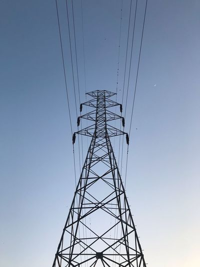 Sky Low Angle View No People Nature Clear Sky Connection Electricity Pylon Built Structure Tall - High Technology Architecture Metal Outdoors Tower Electricity  Fuel And Power Generation Day Power Supply Sunset Cable