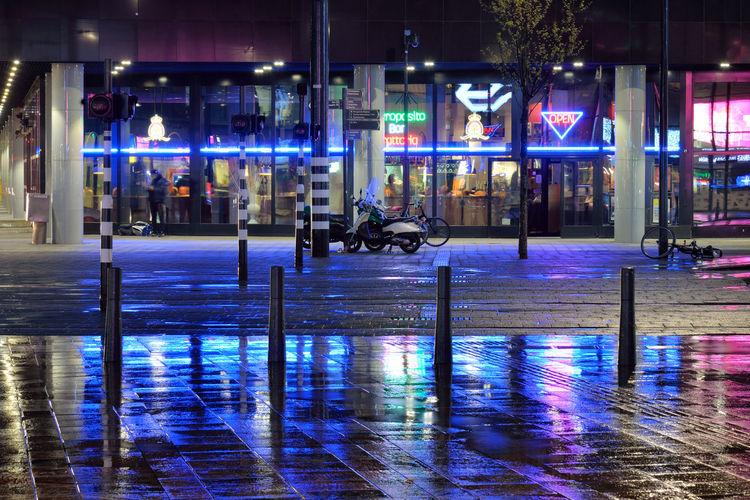After Rain Street Reflection Night City Urban Light Rain Evening Pavement Color Road Outdoors Illuminated Wet Rotterdam Europe Netherlands Rotterdam, Netherlands NL528_ROTTERDAM_AK NL528_NETHERLANDS_AK