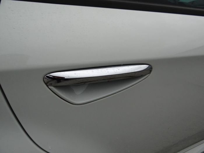 High angle view of car on window