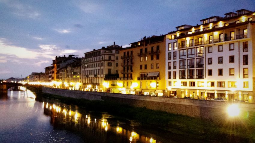 Blue hour City Lights Blue Hour Night Night Lights Night Photography Learn & Shoot: After Dark Eye4photography  Showcase: February EyeEm Best Shots EyeEmBestPics Travel Photography Sunset After Dark City Florence Firenze Water Bridge Water Front  House Front Street Lights Arno  River Riverside Tranquility