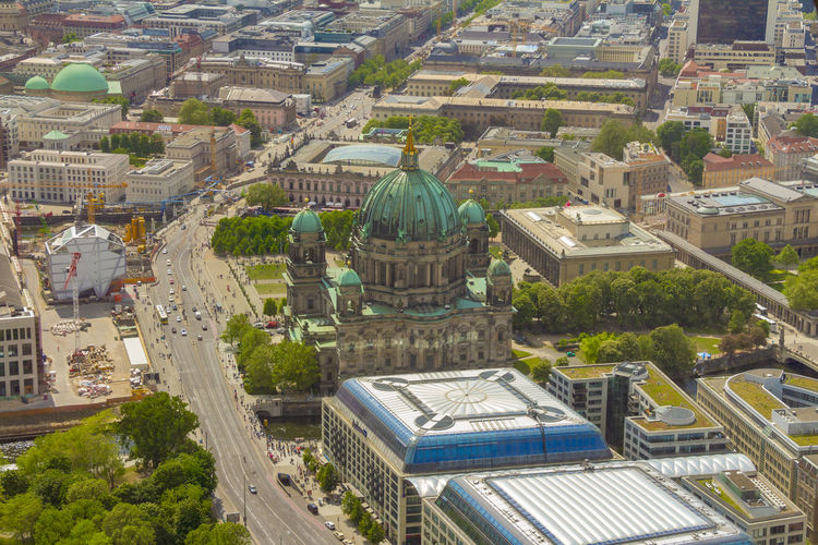 Museum Cityscape Historic Landmark Attraction Landscape Panorama City Germany Europe Aerial Church Religion Monument Dom Island Berlin History Urban Architecture Protestant Old Capital Famous Touristic European  German Above View Dome Culture Travel Berliner Cathedral Sightseeing Tourism Skyline Town Building Mitte Museum Island Aerial View Street Car People