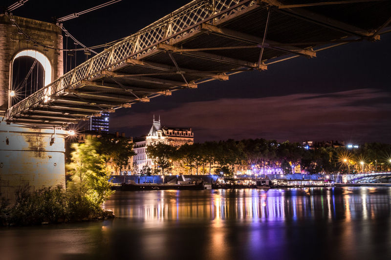 City of Lyon France by nigh Architecture City Life Historical Building Lyon France Night Lights Nightphotography Rhône-Alpes Riverside Architecture Bridge Bridge - Man Made Structure Built Structure Chain Bridge Connection Illuminated Lifestyles Long Exposure Multi Colored Night No People Outdoors River Sky Transportation Travel Destinations Turistic Places Water Waterfront
