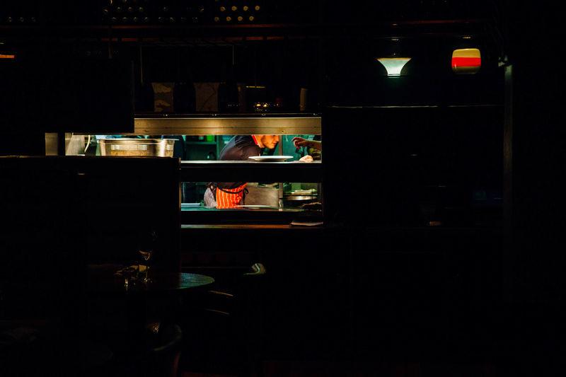 Illuminated Indoors  Kitchen Light No People Service Hatch Shelf