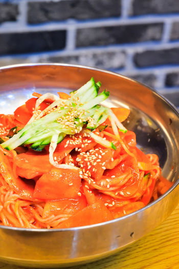 Korean Cold Noodles Bibim Naengmyeon Food Korean Korean Food Naengmyeon Naengmyun Bibim Naengmyeon Cold Noodles Spicy Gochujang Red