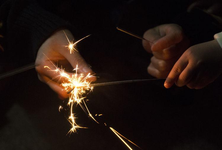 Bright Celebration Childhood Darkness And Light Fireworks Flame Happiness Sparkler