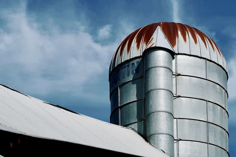 Silo and blue sky and clouds
