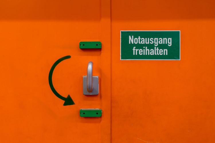 Emergency Metal Door With Handle And Text