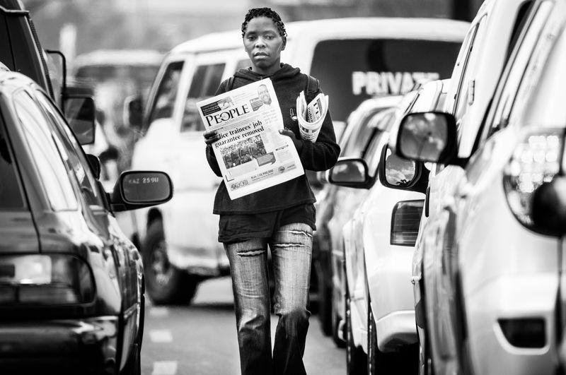 Newspapers Hard Life Selling On The Street Jua Kali Newspaper Salesman Jam Cars Traffic Jam Traffic Stand Still Standstill Morning Traffic Nairobi City Center Traffic Collapse