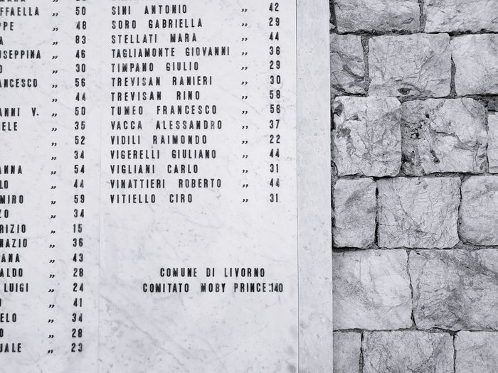 Text Communication No People Close-up Memorial Names Deaths Tragedy Moby Prince 141 Deads Non dimentichiamo
