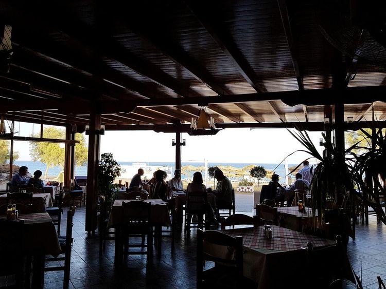 Dining Restaurant Walking Around Santorini, Greece Perissa The Posideon Sea Silhouette City Sky