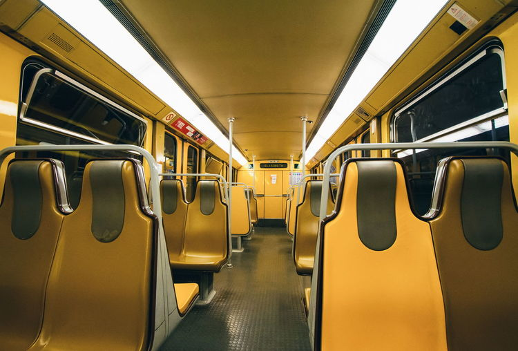 robotic EyeEmSelect Vehicle Interior Transportation Vehicle Seat Indoors  No People Subway Train Yellow Day Illuminated Symmetry